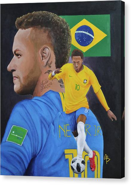 Neymar Jr Canvas Print - Neymar Jr Brazil by Justin Bateman