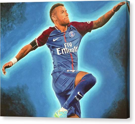 Neymar Jr Canvas Print - Neymar Jr Goal by Justin Bateman