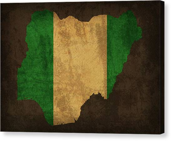 Nigeria Canvas Print - Nigeria Country Flag Map by Design Turnpike