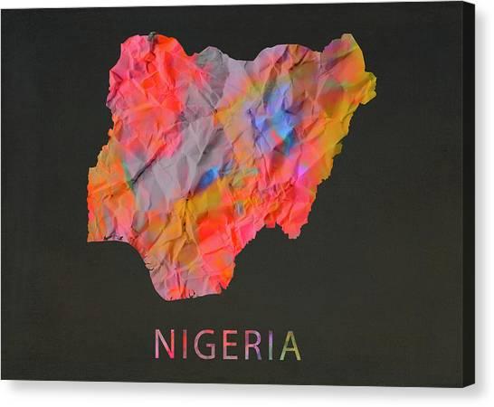Nigeria Canvas Print - Nigeria Tie Dye Country Map by Design Turnpike