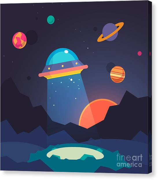 Sun Canvas Print - Night Alien World Landscape And Ufo by Iconic Bestiary