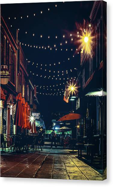 Night Dining In The City Canvas Print