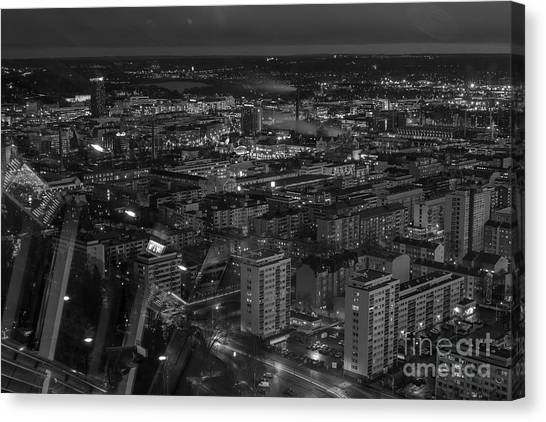 Night In Tampere Canvas Print by Tapio Koivula