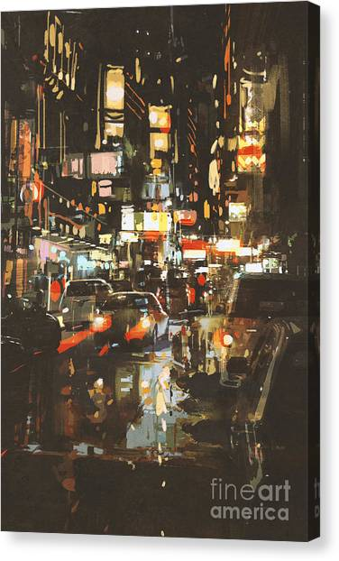 Acrylic Canvas Print - Night Scene Of A Street In by Tithi Luadthong