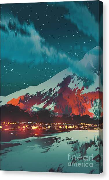 Acrylic Canvas Print - Night Scene Of Village In by Tithi Luadthong