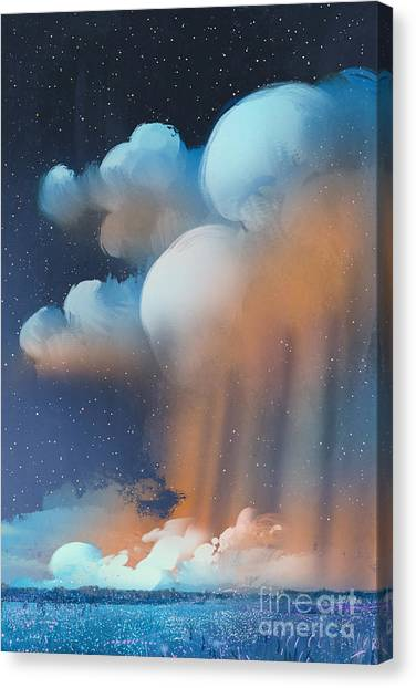 Formation Canvas Print - Night Scenery Of Big Cumulonimbus by Tithi Luadthong