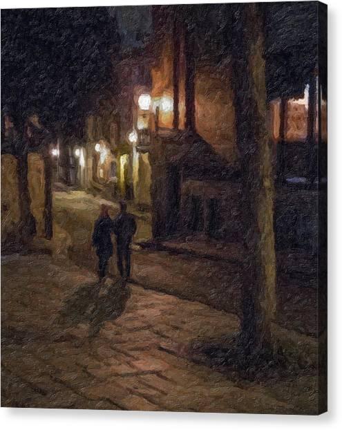 Night Shadows Impasto Canvas Print