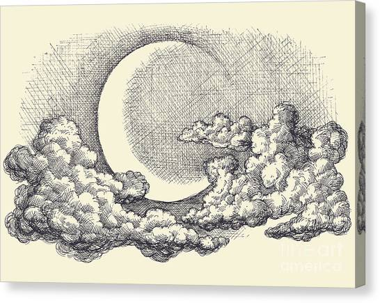 Engraving Canvas Print - Night Sky Vector, Moon In The Clouds by Danussa