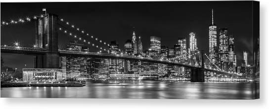 Skyscrapers Canvas Print - Night-skyline New York City Bw by Melanie Viola