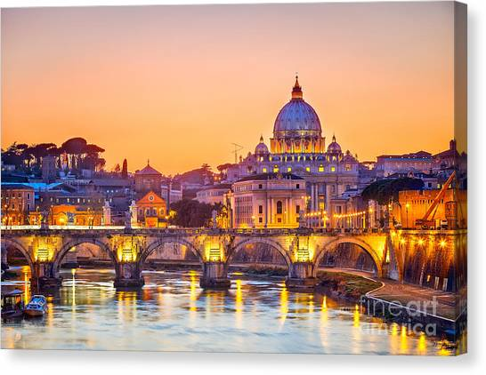 Church Canvas Print - Night View At St. Peters Cathedral In by S.borisov