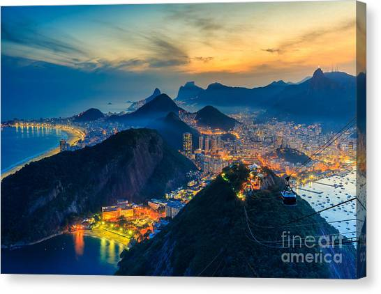 South American Canvas Print - Night View Of Copacabana Beach, Urca by F11photo