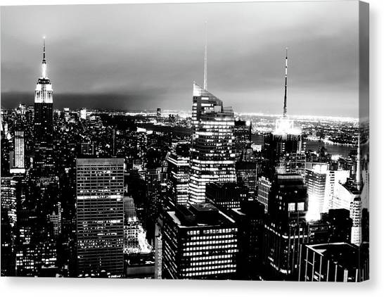 Night View Of New York Canvas Print by Night View Of New York City From Rockefeller Center