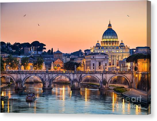 Church Canvas Print - Night View Of The Basilica St Peter In by Mapics