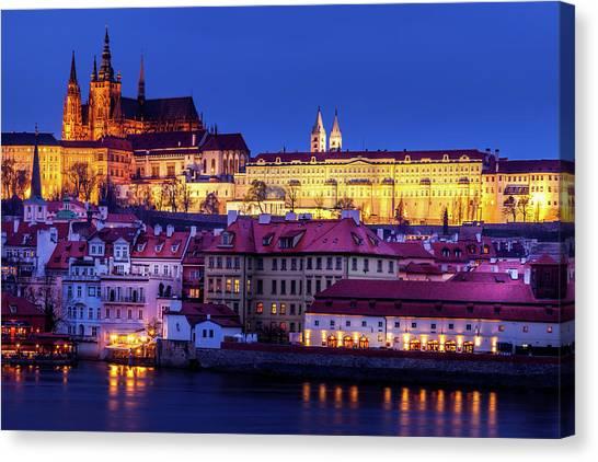 Nightfall Over Prague Canvas Print by Andrew Soundarajan