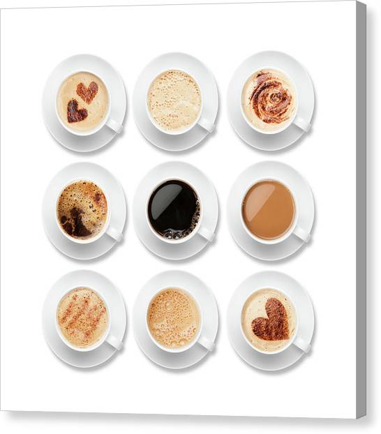 Nine Different Coffees In White Cups Canvas Print