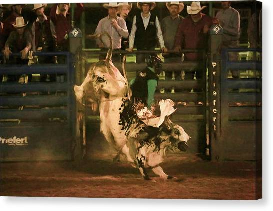 Bull Riding Canvas Print - Eight Seconds by Donna Kennedy