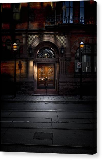 Canvas Print featuring the photograph No 107 Wellington St W Toronto Canada Color Version by Brian Carson