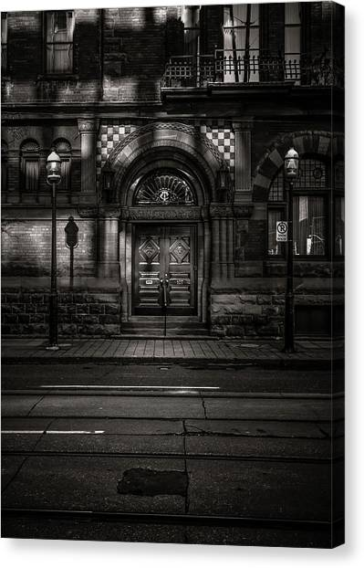 Canvas Print featuring the photograph No 107 Wellington St W Toronto Canada Toned Version by Brian Carson