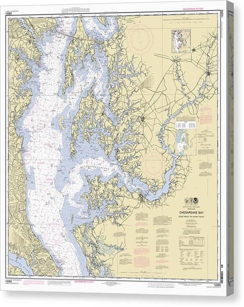 Chesapeake Bay, Cove Point To Sandy Point Nautical Chart Canvas Print