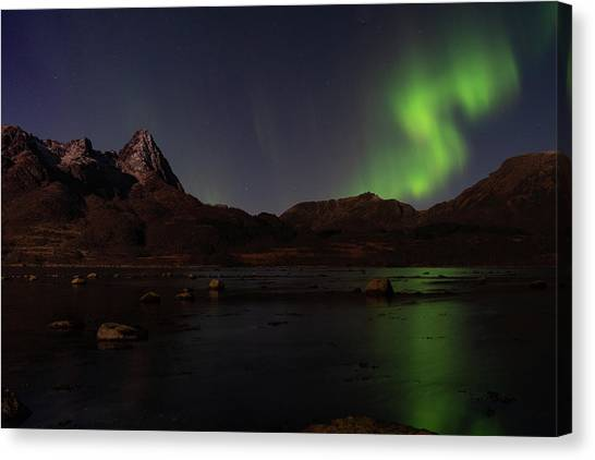 Northern Lights Aurora Borealis In Norway Canvas Print