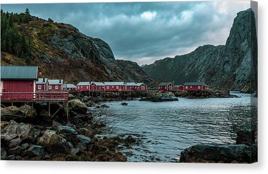 Norway Panoramic View Of Lofoten Islands In Norway With Sunset Scenic Canvas Print