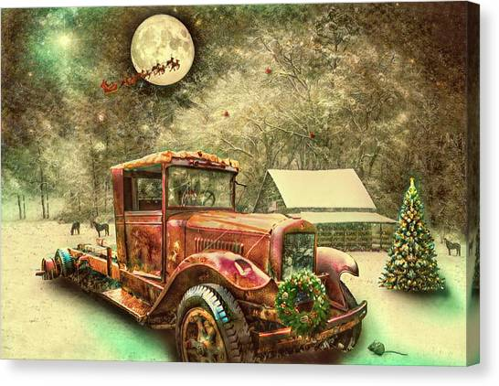 Rusty Truck Canvas Print - Nostalgic Red Truck On Christmas Eve  by Debra and Dave Vanderlaan