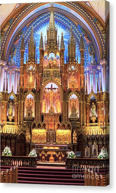 Quebec City Canvas Print - Notre Dame Interior Montreal by John Rizzuto