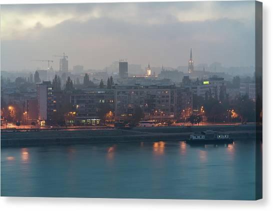 Novi Sad Night Cityscape Canvas Print