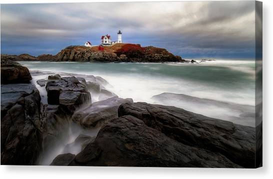 Canvas Print featuring the photograph  Nubble Lighthouse, York Me. by Michael Hubley