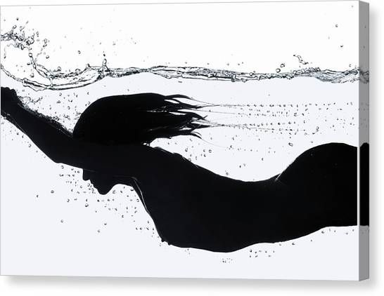 Nude Diving, Silhouette Canvas Print by Udo Kilian