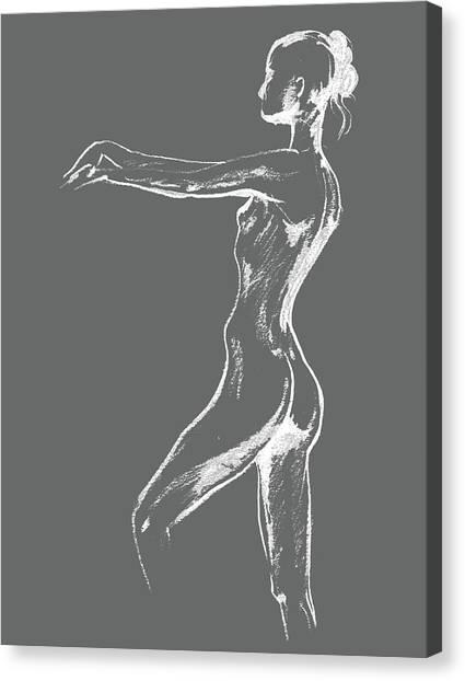 Long Hair Canvas Print - Nude Model Gesture Xxix by Irina Sztukowski