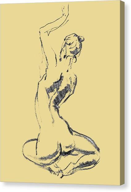 Long Hair Canvas Print - Nude Model Gesture Xxvi by Irina Sztukowski