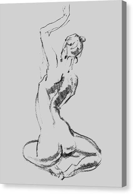 Long Hair Canvas Print - Nude Model Gesture Xxvii by Irina Sztukowski