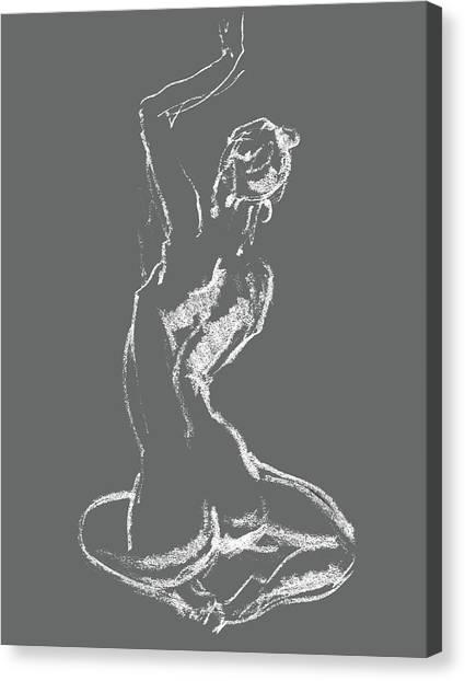 Long Hair Canvas Print - Nude Model Gesture Xxviii by Irina Sztukowski
