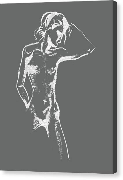 Long Hair Canvas Print - Nude Model Gesture Xxx by Irina Sztukowski