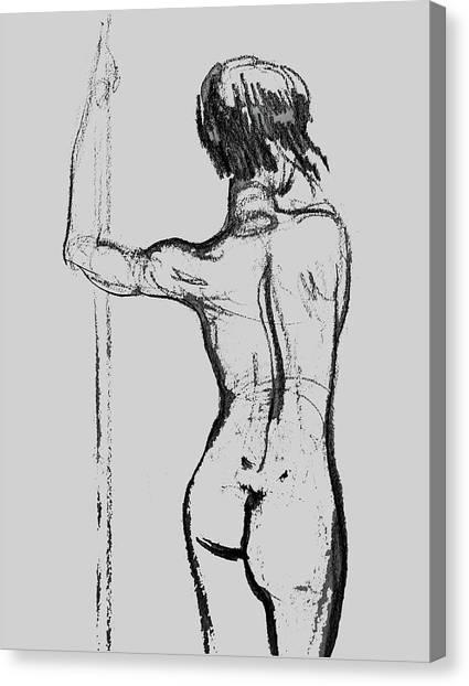 Long Hair Canvas Print - Nude Model Gesture Xxxii by Irina Sztukowski