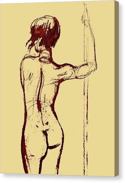 Long Hair Canvas Print - Nude Model Gesture Xxxiv by Irina Sztukowski