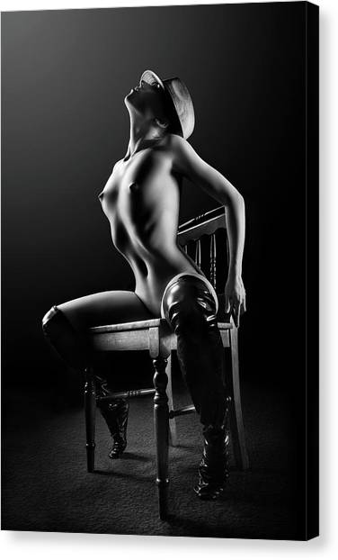 Canvas Print - Nude Woman On Chair 2 by Johan Swanepoel