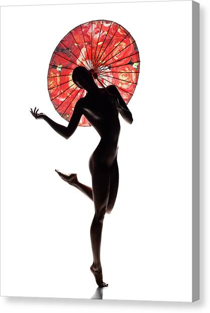 Canvas Print - Nude Woman With Red Parasol by Johan Swanepoel