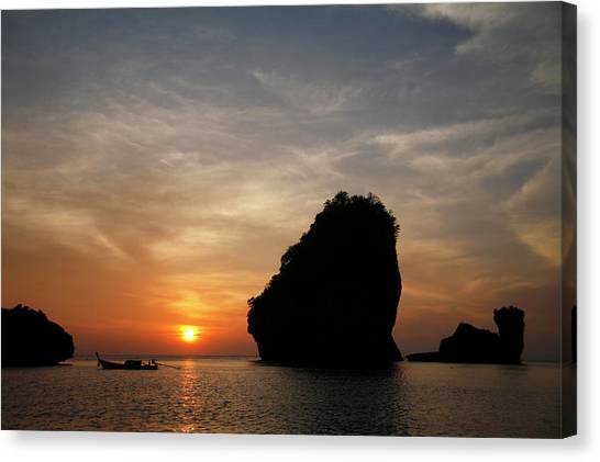 Nui Bay At Sunset At Phi Phi Islands Canvas Print by Massimo Pizzotti