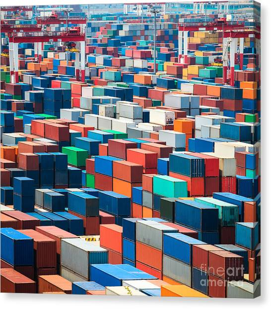Freight Canvas Print - Numerous Shipping Containers In Port by Chuyuss