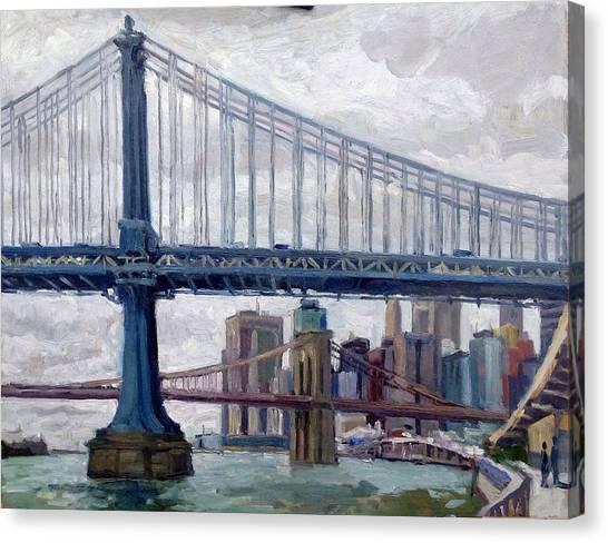 Nyc Grey And Blue Manhattan Bridge Canvas Print