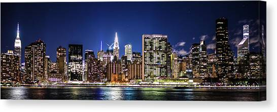 Canvas Print featuring the photograph Nyc Nightshine by Theodore Jones
