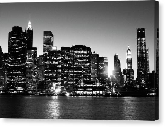 Nyc Skyline At Sunset Canvas Print by Lisa-blue