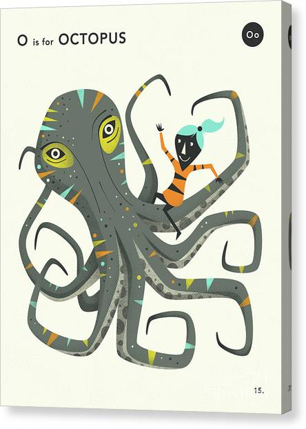 Octopus Canvas Print - O Is For Octopus 2 by Jazzberry Blue