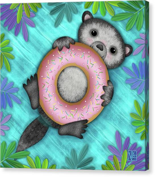 O Is For Otter With An O So Delicious Doughnut Canvas Print