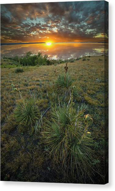 Canvas Print featuring the photograph Oahe Sunset  by Aaron J Groen
