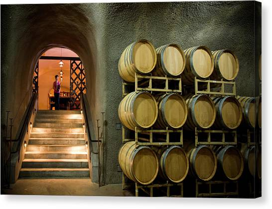 Sonoma Valley Canvas Print - Oak Barrels In Wine Cave At Winery Napa by Seanfboggs