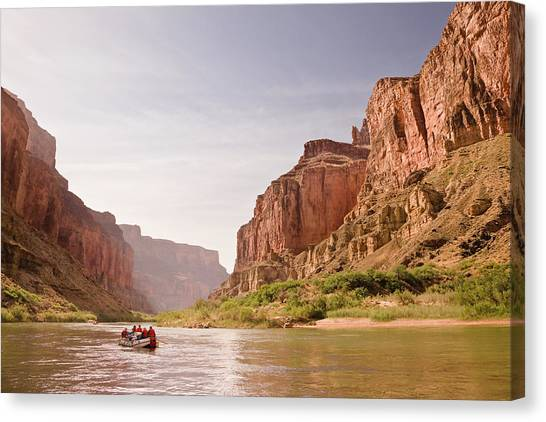 Oar Raft On Colorado River In Early Canvas Print
