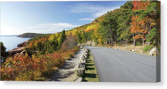 Ocean Drive Road Panorama, Acadia Canvas Print by Picturelake